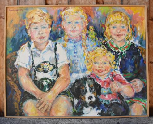 Geschwister-Porträt (1980) in Öl von Earl Newman