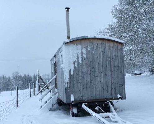 Bauwagen für FöJ und Wwoofing im Winter am Berghof
