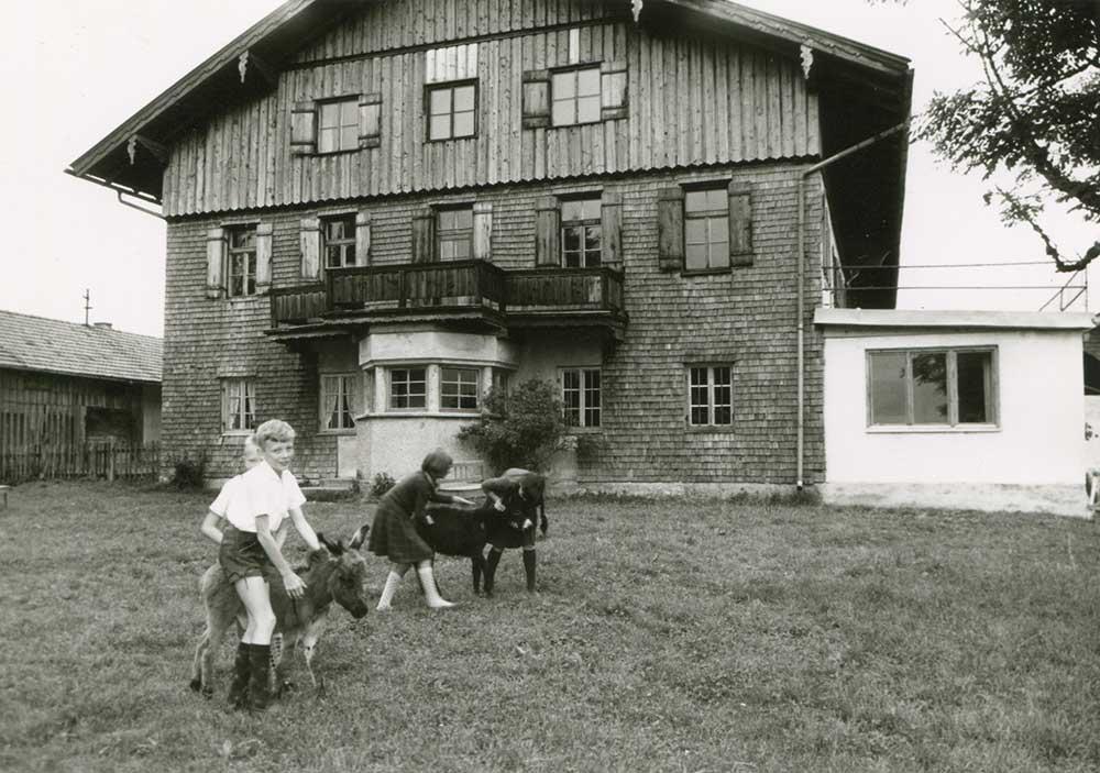 Kinder mit Eselfohlen am Berghof - alte Aufnahme