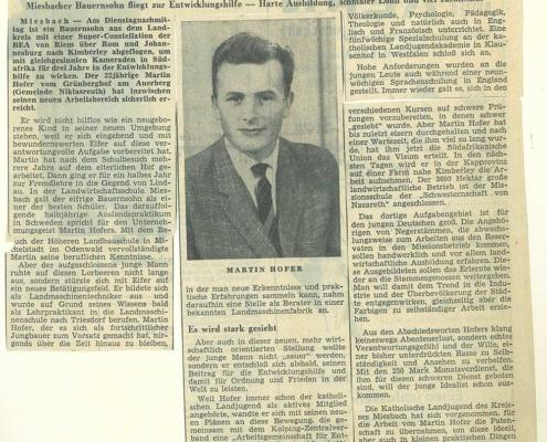 Zeitungsartikel mit Martin Hofer
